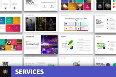 Services Seo Management Bullet Points Powerpoint Template For Business Pitch Deck Professional Creative Powerpoint Icons 001