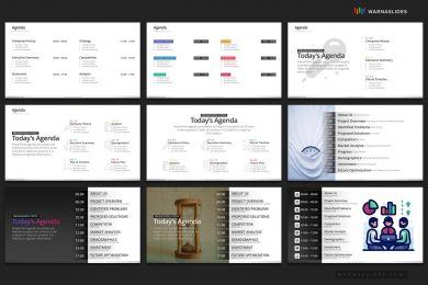 Agenda Meeting Powerpoint Template 2020 For Business Pitch Deck Professional Creative Presentation By Warna Slides 006