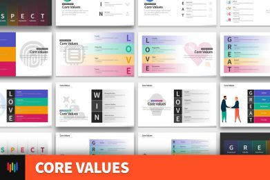 Company Core Values Powerpoint Template For Business Pitch Deck Professional Creative Powerpoint Icons 001