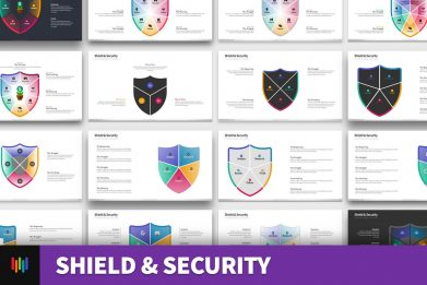 Shield Security Protection Powerpoint Template For Business Pitch Deck Professional Creative Powerpoint Icons 001