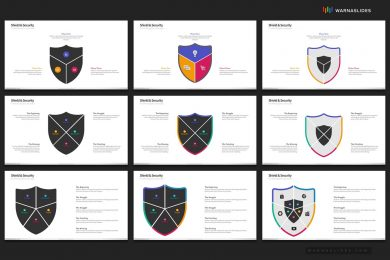Shield Security Protection Powerpoint Template For Business Pitch Deck Professional Creative Powerpoint Icons 006