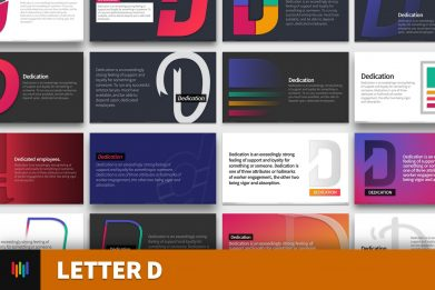 Letter D Typography Powerpoint Template For Business Pitch Deck Professional Creative Powerpoint Icons 001